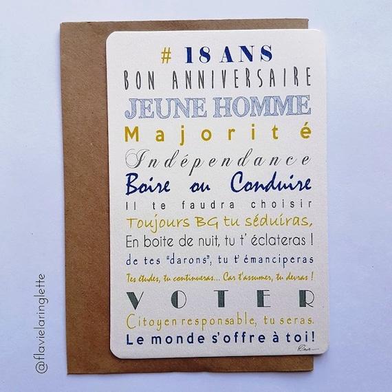 Carte Postale 18 Ans Jeune Homme Joyeux Anniversaire Etsy