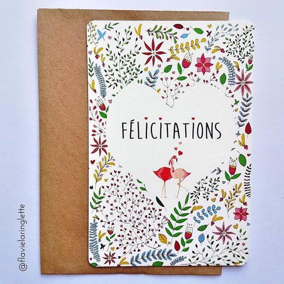 Carte Postale Felicitations Fiancailles Mariage Flamants Etsy