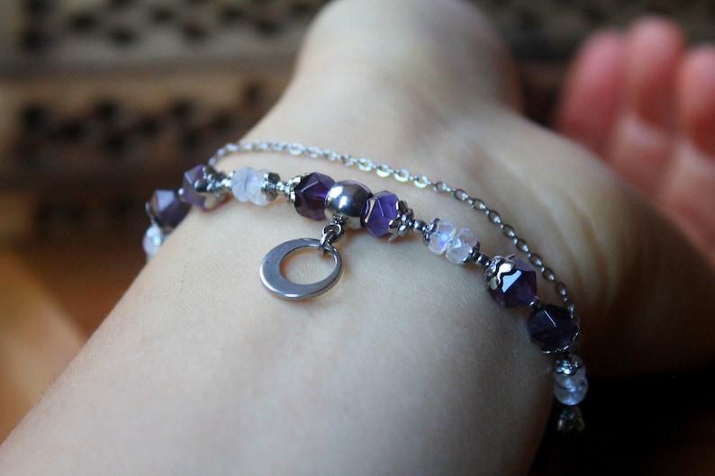 Amethyst ~ Moonstone ~ AAA Healing multi gemstone dainty bracelet  perfect gift for her wedding anniversary birthday valentines gift