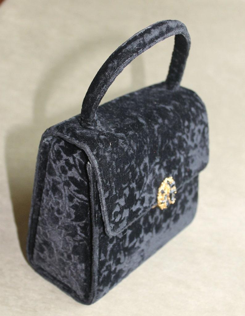Purse Renaissance Style Navy Velvet And Gold Braid Cloth Handbag