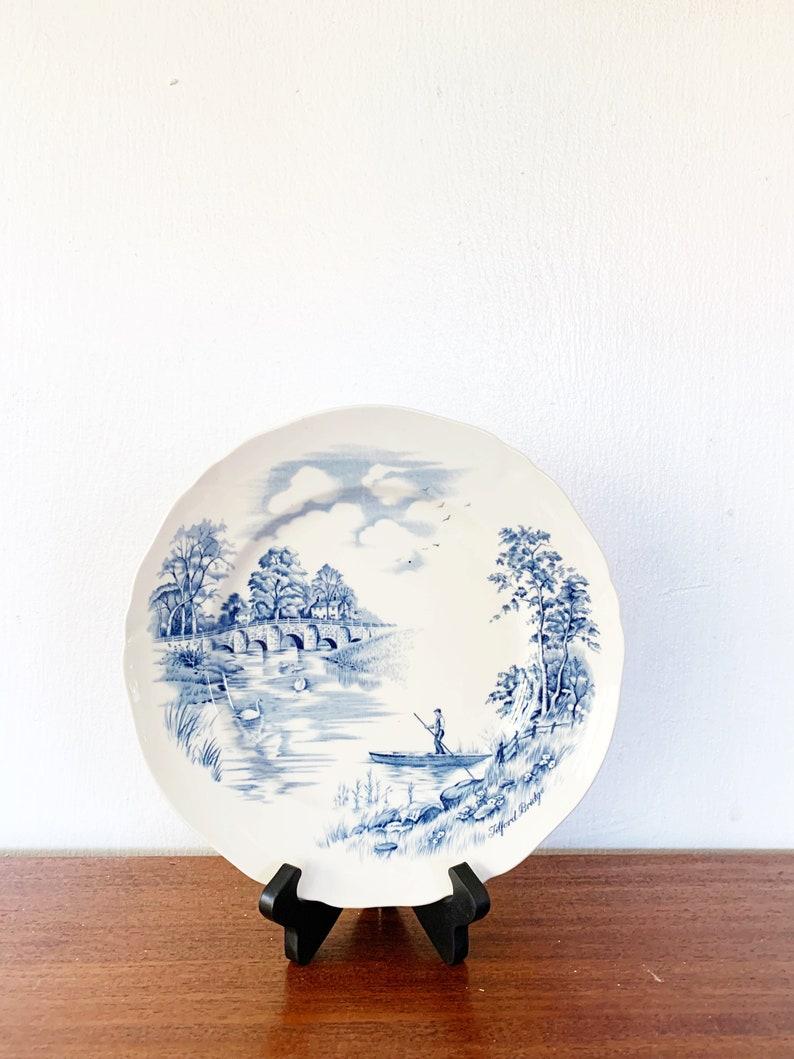 vintage blue and white ironstone plate Coastal Cottage decor Alfred Meakin \u2018Tilford Bridge\u2019 from English Bridges Collection