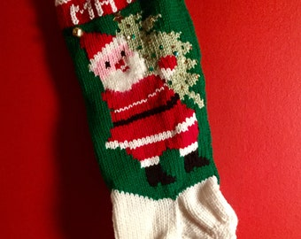 hand knit vintage personalized christmas stocking santa with christmas tree sequins