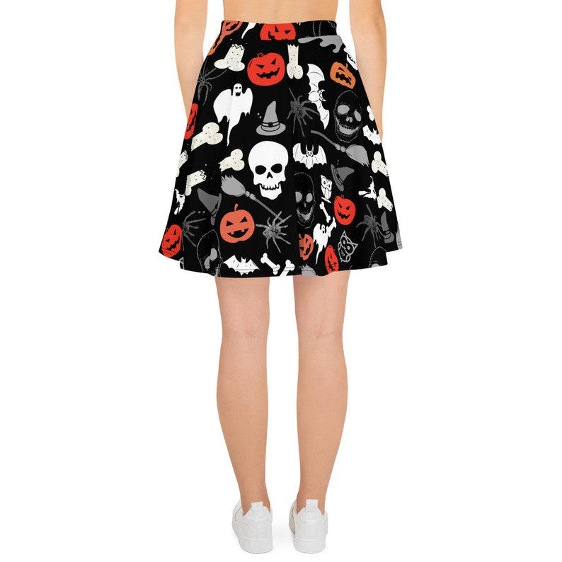 Halloween skirt women  Black skirt Halloween  skull bat ghost pumpkin skirt Halloween  Halloween gift women  Skater Skirt Halloween