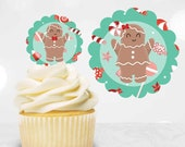 Gingerbread Cupcake Toppers, Christmas Party Cupcake Toppers, DIY Cupcake Toppers, Cut File, Silhouette Cameo Christmas Craft, Gingerbread