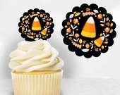Candy Corn Halloween Cupcake Toppers, DIY Cupcake Toppers, Printable Cupcake Toppers, Fall Cupcake Toppers, October Cupcake Toppers