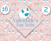 Valentine's Day Yeti Pattern and Clip Art, Valentine theme illustrations, Blogger, Valentine Party, DIY cards.