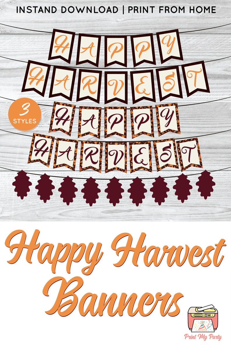 picture about Printable Thanksgiving Banners identify Delighted Harvest Printable Banner, Drop Banner, Thanksgiving Banner, Printable Drop Banner, Autumn Banner, Oak Leaf banner, Do it yourself Tumble Banner