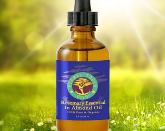 Rosemary Essential in Almond Sweet Oil - Organic Aromatherapy Body Oil Blend by Herbal Touch Oils