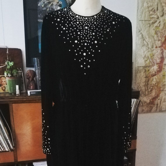 CEIL CHAPMAN JUMPSUIT in black velvet with rhinest