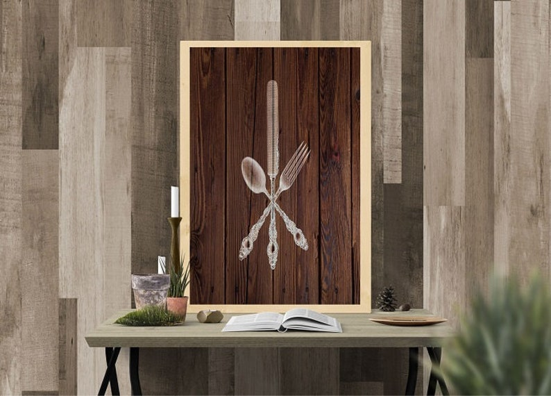 Brown Barn Wood Rustic Kitchen Art Kitchen Utensils Etsy