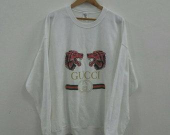 187e903d1ac Gildan white sweatshirt crewneck pullover jumper double Wolf head printed  gucci colorways 2XL Size