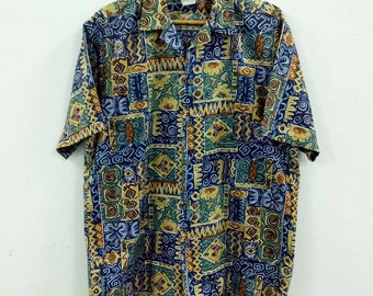 942a2453ba6 Vintage Hilo Hattie tapa aloha shirt L size