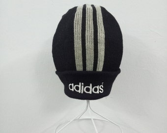 362a7db431c Vintage from 80s Adidas three stripes beanie ski hat 100% wool