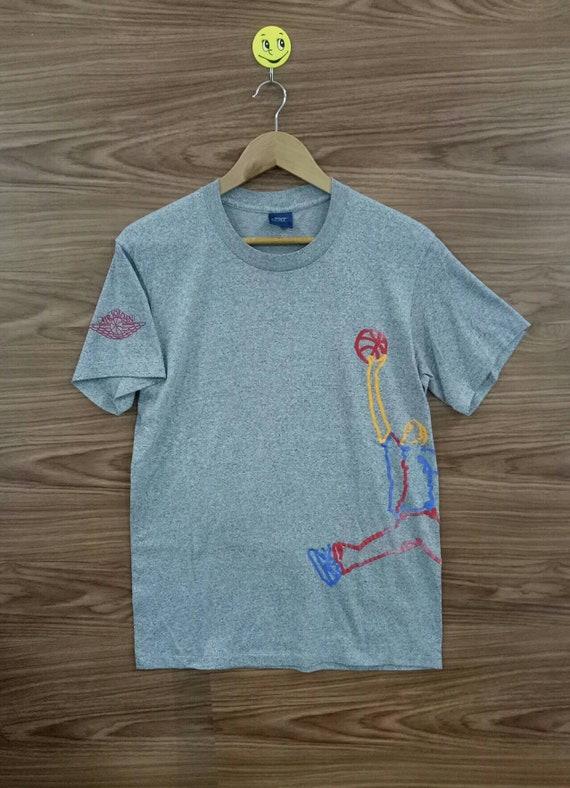 RARE Vintage 80s Nike Blue tag air jordan ballwing gray t.shirt poly cotton blend L size