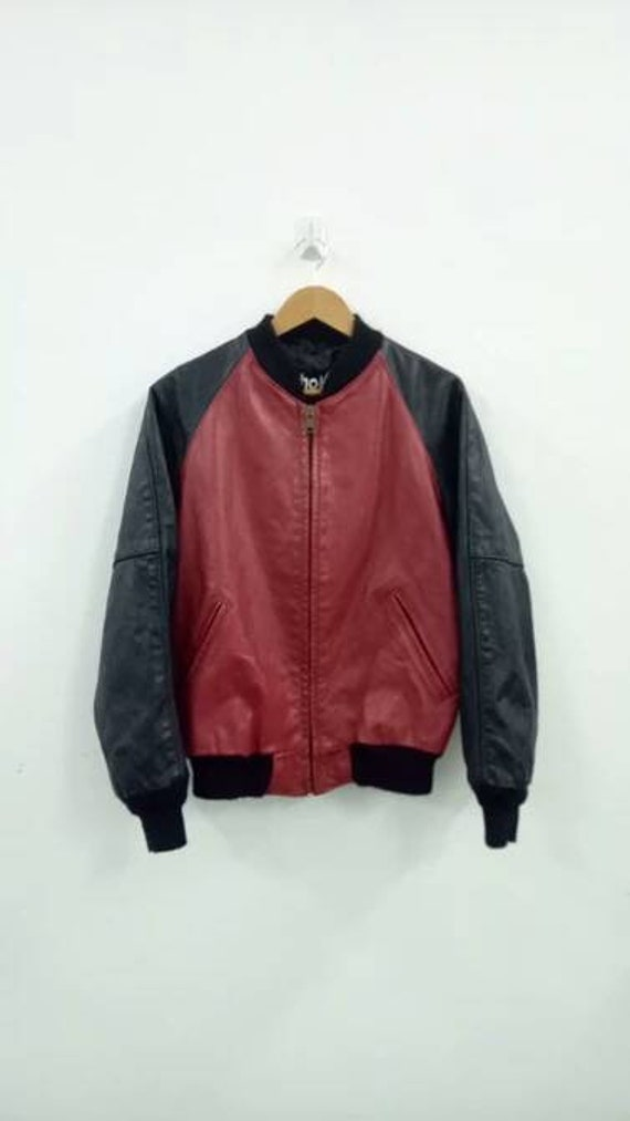 Schott red/black colors leather jacket motorcycle