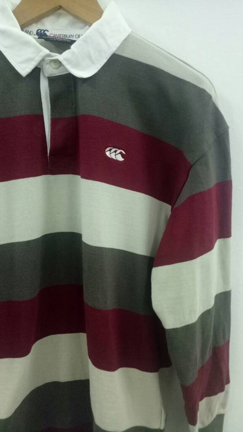 Vintage Canterbury of New Zealand stripes rugby shirt long sleeves L size