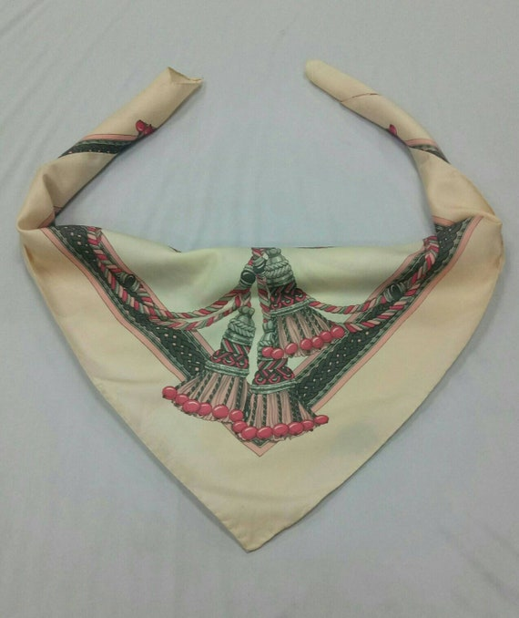 Vintage Longchamp big logo silk scarf