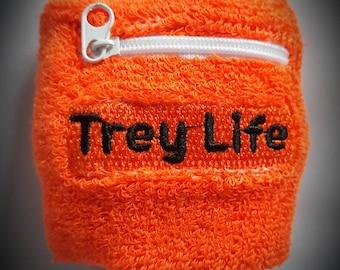 Trey Life Green Sweatband Wristbands with stash pocket