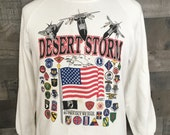 Vintage 90s Operation Desert Storm 1990s Military War USA Crewneck Sweatshirt 90s American Pride Military Forces Crewneck Large