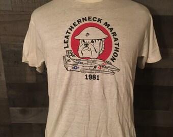 71b706bc Vintage 1980s United States Marines Planes Leatherneck Marathon 80s Semper  Fi tee tshirt / USA Military tee tees Large