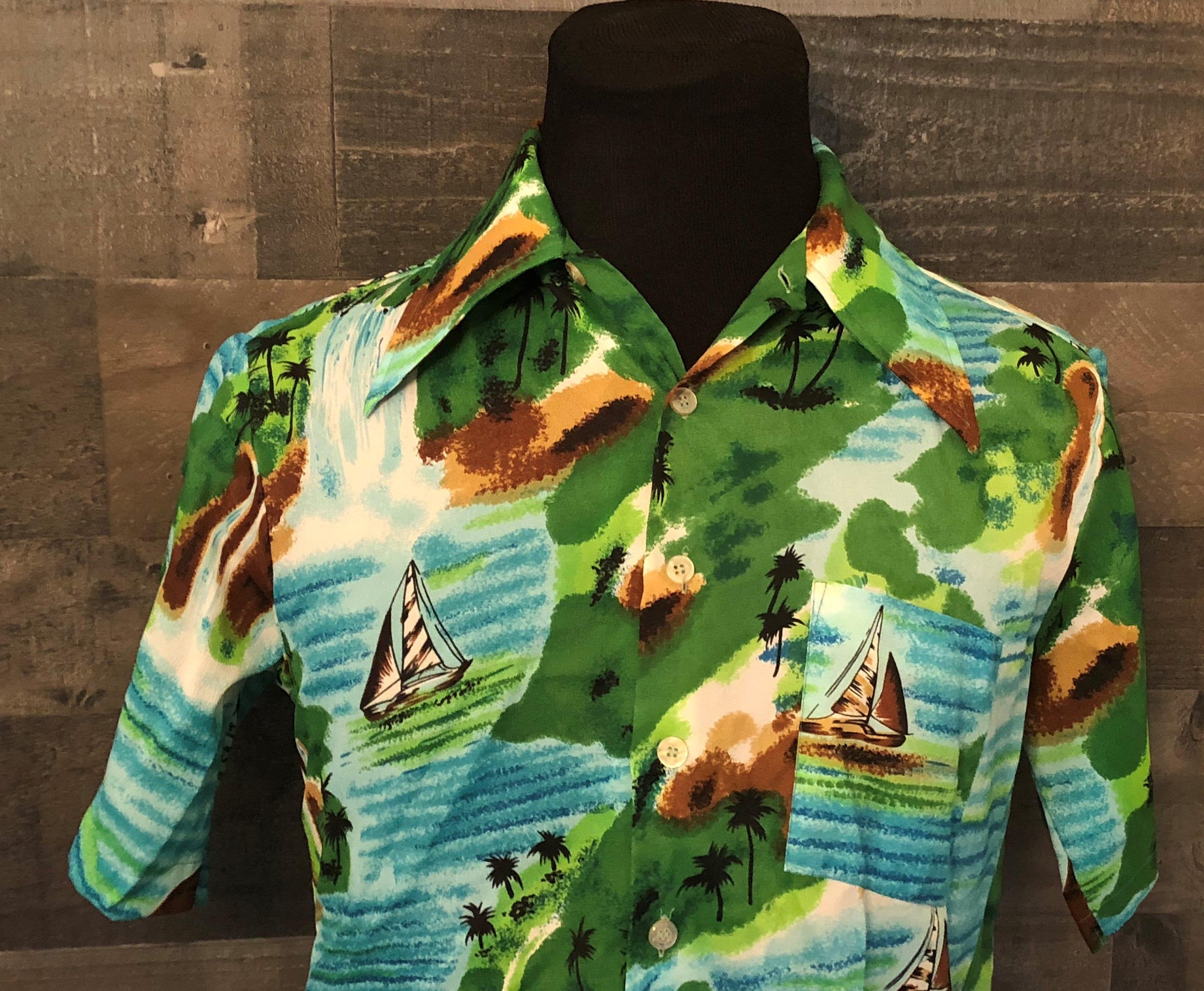 80s Tops, Shirts, T-shirts, Blouse   90s T-shirts Vintage Van Croft Hawaiian Shortsleeve Button Down 1980S ShirtVintage Hawaiin 80S Vacation Medium $38.00 AT vintagedancer.com