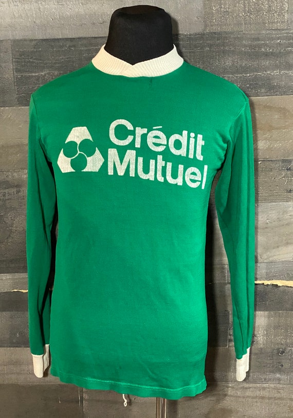 Vintage 1980s Credit Mutuel Green Soccer Jersey Sh