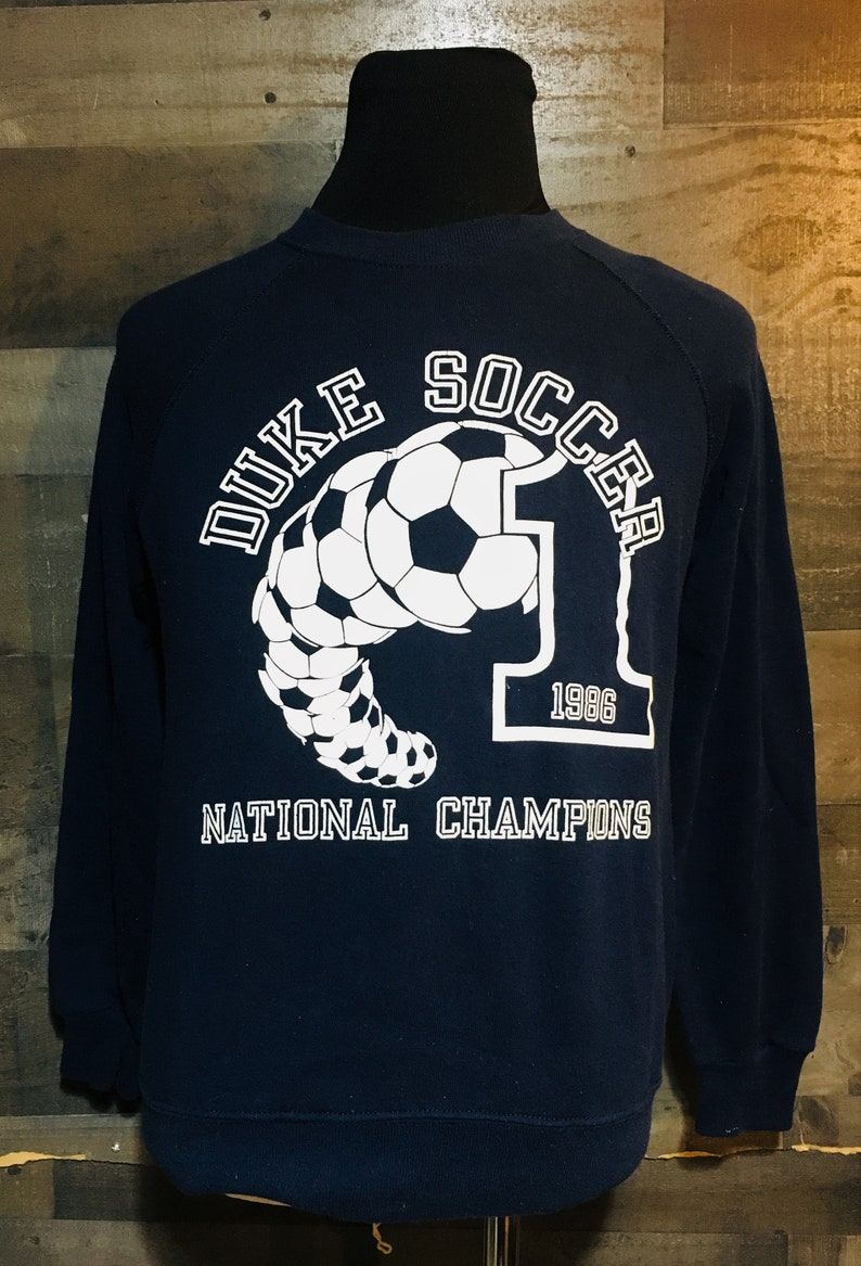 competitive price 688a3 165a8 Vintage 80s Duke University Blue Devils Soccer 1986 National Champions ACC  Blue Crewneck Sweatshirt / vintage college sweatshirt Medium
