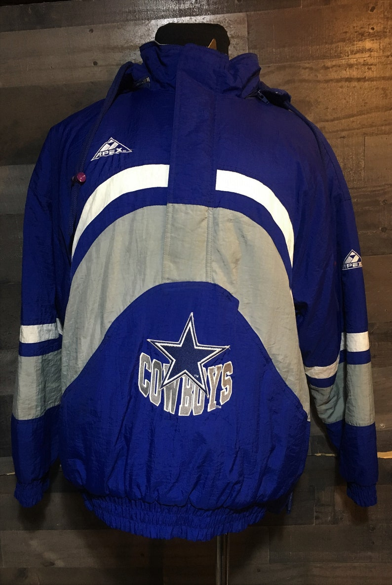 quality design 000bb 198cb Vintage 90s Dallas Cowboys 1990s Pro Line Apex One Pullover NFL Football  Jacket / vintage nfl jacket / vintage football jacket Large