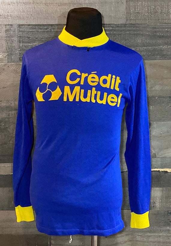 Vintage 1980s Credit Mutuel Blue / Yellow Soccer J