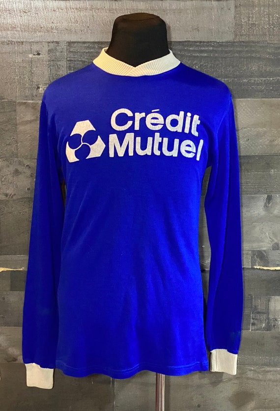 Vintage 1980s Credit Mutuel Blue Sports Soccer Jer