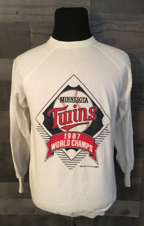 arrives 110c1 91936 Vintage Minnesota Twins 1987 World Series MLB Baseball White Crewneck  Sweatshirt / Twins Sweatshirt / baseball sweatshirt XL