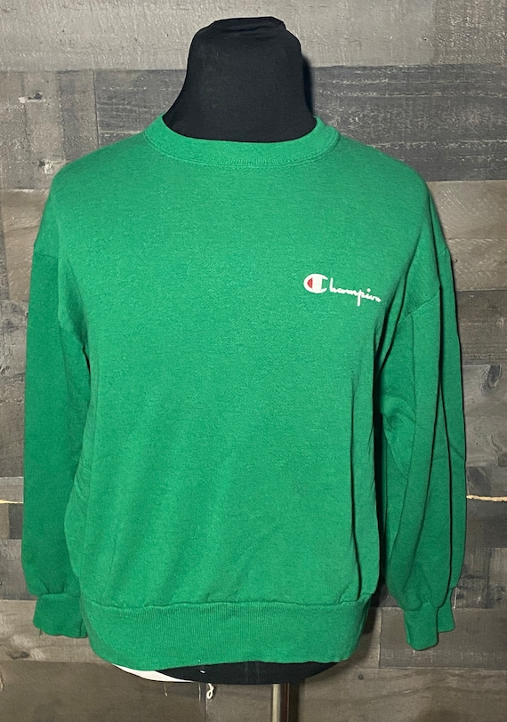 Vintage 80s Champion Green Crewneck 1980s Sweatshi