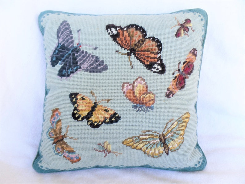 Vintage Williamsburg Needle Point Butterfly Pillow