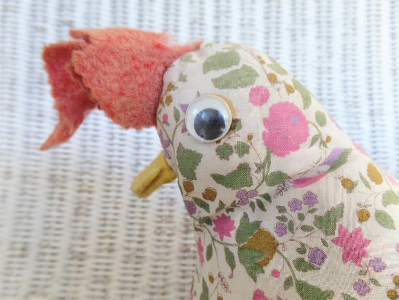 Vintage stuffed rooster door stop hand made floral cloth  folk art 1970/'s  retro home decor