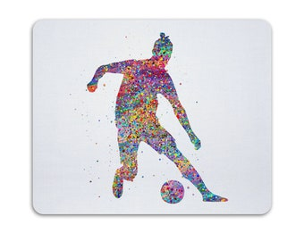 Football Player Art For Office Decoration Watercolor Soccer Player Mouse Pad Art Print Colorful Sports Mousemat Art Illustration