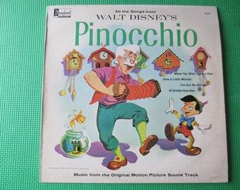 Vintage Records, PINOCCHIO, DISNEYLAND Records, DISNEY Records, Disneyland Albums, Disney Albums, Childrens Records, Vinyl Lp, 1963 Records