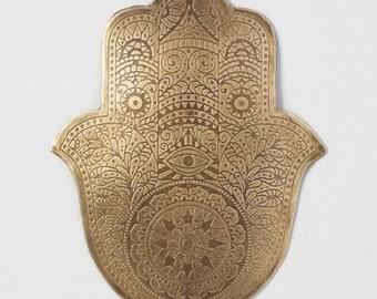 Etched Metal Hamsa Wall Art Decor Hand Of Hanging Yoga Studio Reiki Handof God Sacred Protection Symbol Bohemian