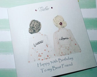 Best Friend Happy Birthday Handmade Card Sister Cousin 18th 21st 25th 30th 35th 40th 50th 60th Personalised