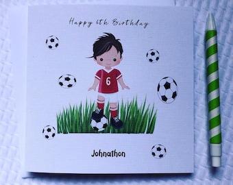 Personalised Boys Birthday Card Football 4th 5th 6th 7th 8th Son Grandson Nephew