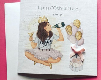 Handmade Personalised Womens Birthday Card Daughter Granddaughter Niece 18th 21st 30th