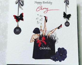 Handmade Personalised Womens Birthday Card Daughter Granddaughter Niece 18th 21st 25th 30th 40th