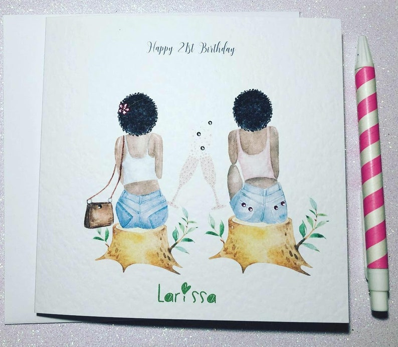Girls Birthday Card Personalised Hand Made Ladies Womens