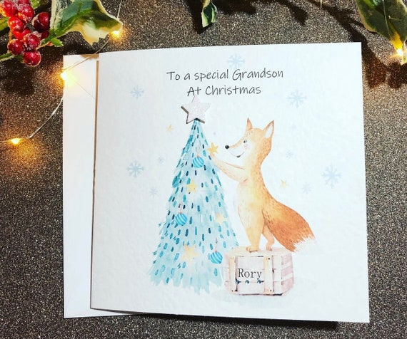 Beautiful Christmas Fox Handmade Card For GrandsonChristmas Personalised Card
