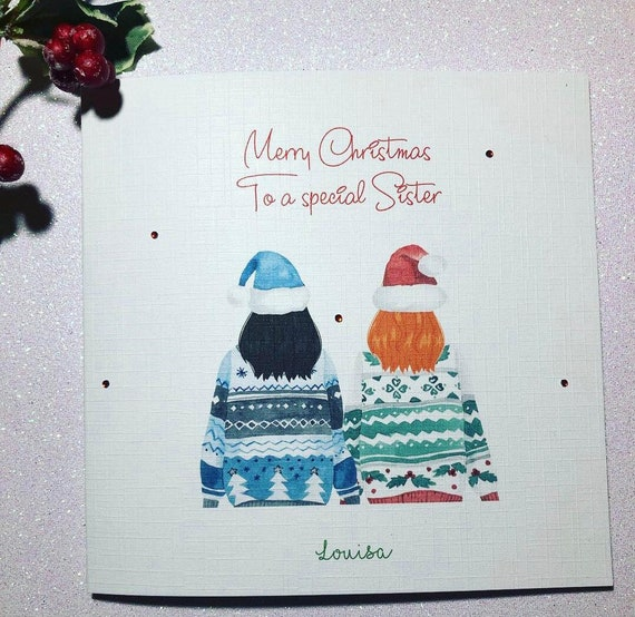 Personalised Mary Christmas Card Xmas Jumpers Handmade Gifts Friend Sister Mum