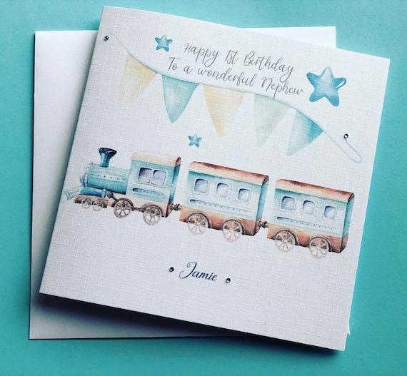 Happy 1st Birthday Boys Card Handmade Personalised