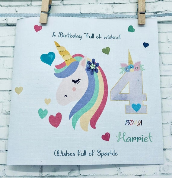 Gift Tag UNICORN HORSE PERSONALISED BIRTHDAY CARD 5th 6th 7th 8th 9th 10th 11th
