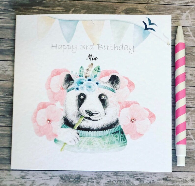 Panda 10th Birthday Card Girls Boys Son Daughter Grandaughter Grandson Friend