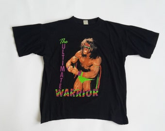 342537bccc54 The Ultimate Warrior RARE vtg WWE t-shirt L XL