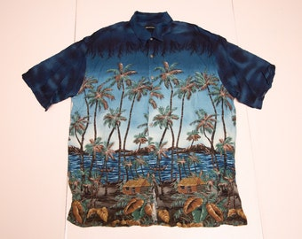 Vtg PIERRE CARDIN blue multicolor all-over-print Hawaiian style 100% rayon button up shirt, Made in Indonesia, sz men's X-Large