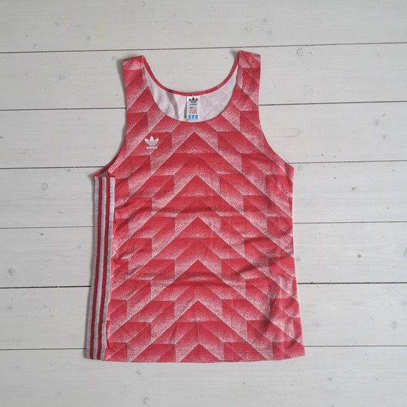 Rare! Vtg 80's ADIDAS track & field tank top Dortmund Germany with USSRRussiaCCCP 1988 football jersey pattern slim fit size L large